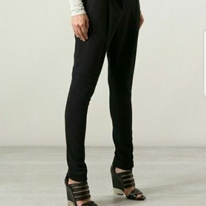 Helmut Lang Skinny Ankle Pleated Trouser Pants